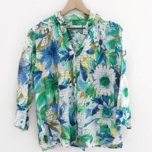 Vintage 3/4 Sleeve Collared Floral Button Down Top